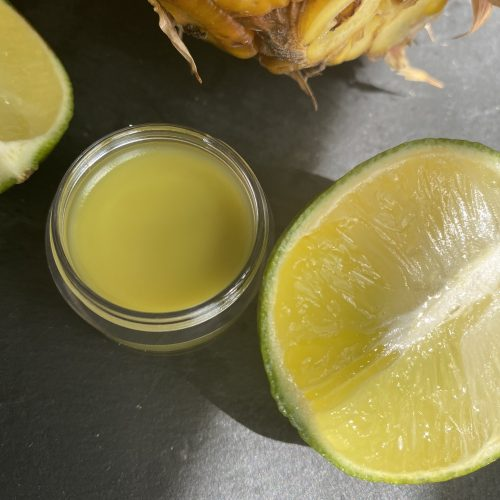 vegan Lime lip balm with jojoba wax